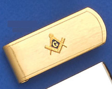 GOLD PLATED SQUARE AND COMPASS MONEY CLIP