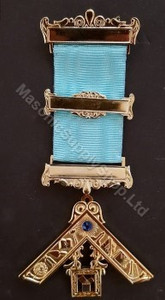 Past Master  Breast  Jewel  3 bar with  Working Tools & Blue Stone