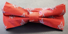 Masonic Red Bow Tie with Silver Square and Compass Design