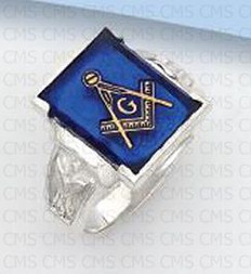 Silver Masonic Ring with Blue Stone -4
