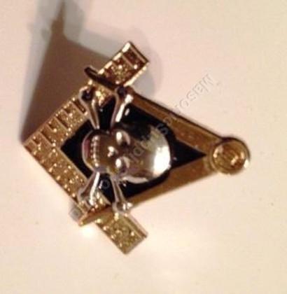 Lapel pin Square & Compass with Skull & Bones Symbol  1 inch