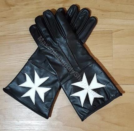 Knight Of Malta Black Leather  Gloves