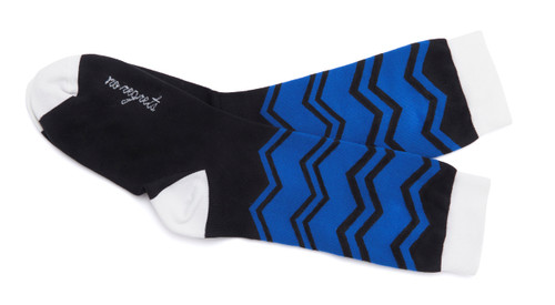 No Regrets black and blue, modern chevron socks by Posie Turner. Socks with inspiring messages.