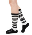 Feed your soul black and white stripe socks by Posie Turner. Socks with inspirational messages.