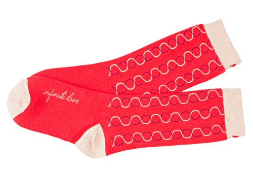 Women's red, colorful, fashion socks by Posie Turner. Infinite Love socks with inspiring mantras.