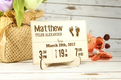 Personalized Wood Standing Post Card - Newborn Baby