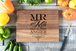 Walnut Personalized Cutting Board ~ Mr & Mrs Stacked