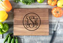 Walnut Personalized Cutting Board ~ Circle Monogram