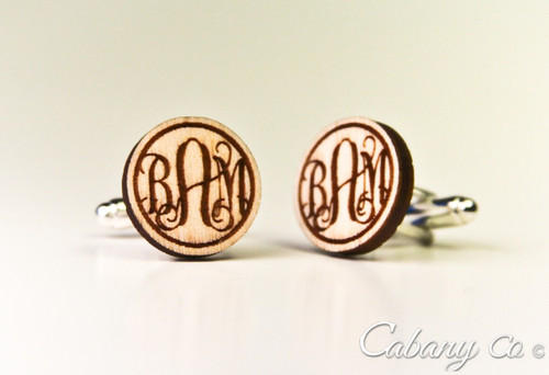 667a047a7e LUX Engraved Cuff Links - Circle Monogram - Cabanyco