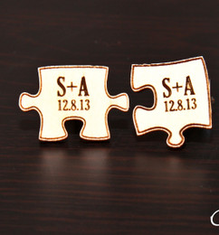 LUX Engraved Wood Cuff Links - Puzzle