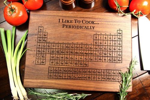 walnut personalized cutting board periodic table cabanyco