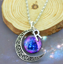 LUX - Initial Charm Moon Pendant 1 - Galaxy