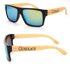 Personalized Bamboo Sunglasses - Color Frame Name Green