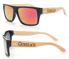 Personalized Bamboo Sunglasses - Color Frame Name Orange/Red