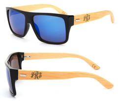 Personalized Bamboo Sunglasses - Color Frame Fancy Monogram Blue