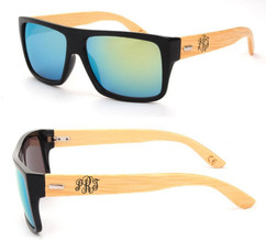 Personalized Bamboo Sunglasses - Color Frame Fancy Monogram Green