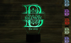 Personalized LED color changing  sign - Imprint Initial