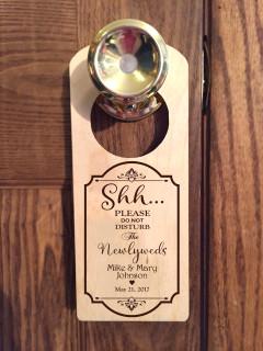 Personalized door knob hanger - Shh Newlyweds
