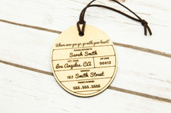 Personalized wood luggage tag - Cirque