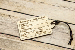 Personalized wood luggage tag -Rounded
