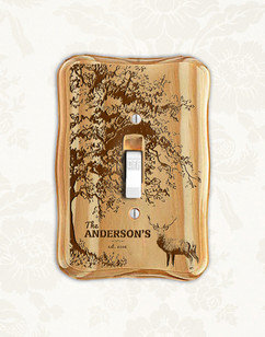 Personalized wood light switch -  Deer