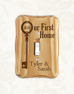 Personalized wood light switch -  Our First Home