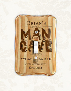 Personalized wood light switch - Man Cave