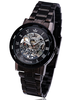 LUX  - Engraved Black Stainless Steel Skeleton Watch W#22 - Shadow