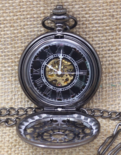 LUX  - Engraved Men Vintage Mechanical Spider Web Pocket Watch W#10