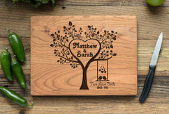 Cherry Personalized Cutting Board ~  Two Love Birds