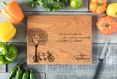 Cherry Personalized Cutting Board ~ Tree Bike