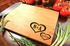 Cherry Personalized Cutting Board ~ Corner Hearts
