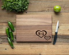 Walnut Personalized Cutting Board ~ Corner Hearts