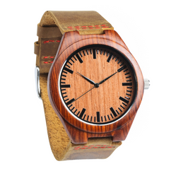 Grpn Italy - Wood Engraved Watch W#59 - Garnet