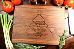 Walnut Personalized Cutting Board ~ Christmas Tree