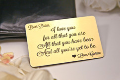 Grpn BE - Personalized Wallet Card Insert - I Love You For All That You Are