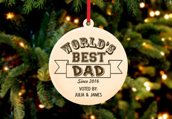 Grpn BE - Engraved Christmas Ornament -  Worlds Best Dad