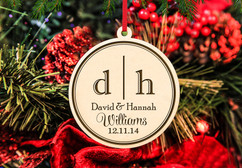 Grpn BE - Engraved Christmas Ornament -  Dual Initial