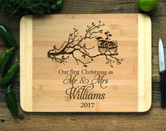 Christmas Owls Personalized Cutting Board HDS