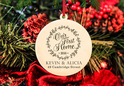 Grpn Italy - Engraved Christmas Ornament -  Our First Home Wreath