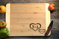 Corner Hearts Personalized Cutting Board HDS