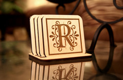 Grpn Italy  - Personalized Coaster Set - Floral Initial