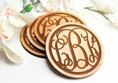 Grpn Italy  - Personalized Coaster Set - Circle Monogram