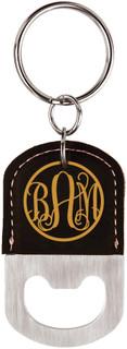 Grpn Italy - Personalized Leather Key Chain Bottle Opener - Fancy Monogram