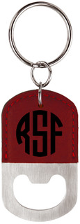 Grpn BE -  Personalized Leather Key Chain Bottle Opener - Circle Monogram
