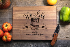 Walnut Personalized Cutting Board ~ Worlds Best Grandma