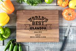 Walnut Personalized Cutting Board ~ Worlds Best Grandpa