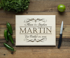 Script Couple Personalized Cutting Board BW