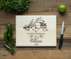 Owl 1st Xmas as Mr Mrs Personalized Cutting Board BW