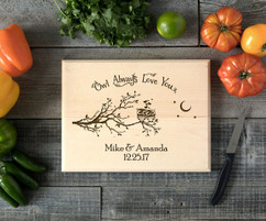 Owl Love you Personalized Cutting Board BW